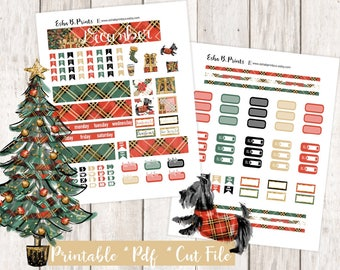 Noel Printable Planner Stickers/B6 Travelers Notebook/Monthly Kit/Annie Plans Printable/Winter December Glam Christmas Tree Presents Puppy