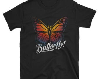 Buttefrly Short-Sleeve Unisex T-Shirt Colorful Print