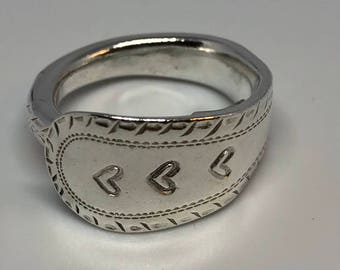 Sterling silver t spoon handle ring