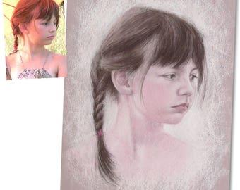 Portrait personnalisé peinture dessin à la main par artiste portraitiste / pastel sur papier (exemple) / cadeau de noël / anniversaire