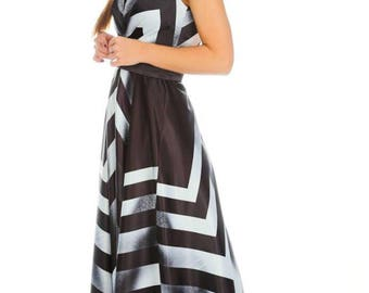 black and white long cocktail dress.