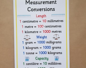 Measurement Conversions- A4 Laminated poster - Numeracy, maths, teaching resource, home schooling,  learning resource, educational KS1, KS2