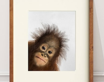 Orangutan PRINT, Baby Animal Printable, Orangutan Poster, Baby Shower Gift, Baby Animal, Safari Print h Poster, Safari Animal Art, Orangutan