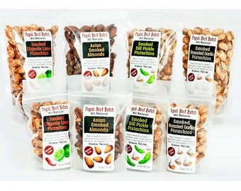Smoked Nut Eight Bag Sampler-Roasted Garlic, Chipotle Lime and Dill Pickle Pistachios and Asian Almonds -Gluten Free, All Natural, Non-GMO