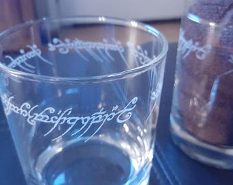 Ring of Power Inscription Lowball Whiskey Glasses (Pair)