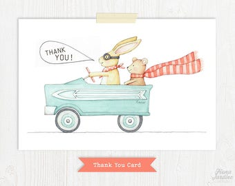 Thank You Card / Thank You / Party Thank You / Rabbit / Bear / Car / Party / Birthday Party / Birthday Thank You / Printable Card /Printable