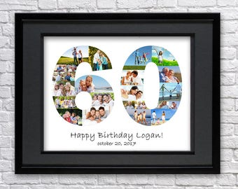 Digital File 60 Anniversary Gifts Number Photo Collage Art Sixty Birthday Custom Photo Collage Art Photo Collage Gift 60th Birthday 60th Art