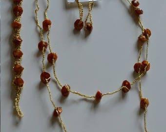 set earrings, necklace, bracelet gold