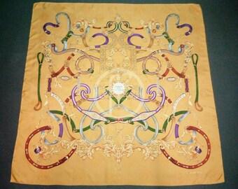LANCEL jacquard square silk scarf foulard 40x40 abstract print