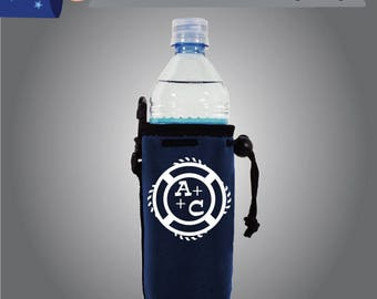 Initials Water Bottle Cooler Single Side (WB-W8) Monagram Wedding Party Favor