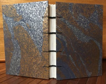 """Beautiful Gold, Blue and Silver Marbled Journal 4 x 6"""""""