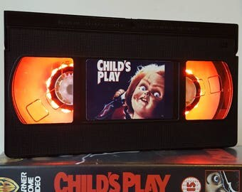 Retro VHS Lamp Chucky Child's Play Night Light Table Lamp, Horror Movie . Order any movie! Great gift. Man Cave. Office.Mothers Day