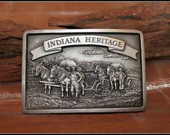 Solid Pewter Indiana Heritage Farm Bureau Coop Limited Edition Belt Buckle, Winters Associates, Bloomington Indiana, Farming, Hoosiers