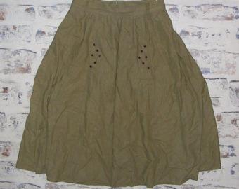 Size 8-10 vintage 80s midi gathered flared stud peasant skirt green (HK45)