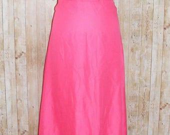 Size 8 vintage 70s angel s/sleeve v neck maxi dress tiered hem hot pink (HJ74)