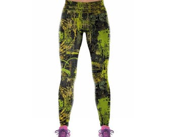 Green Abstract Workout Leggings
