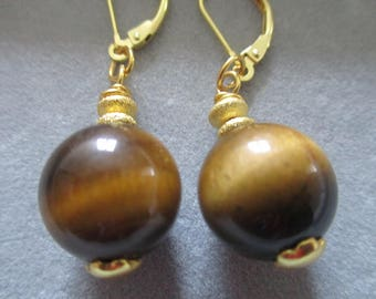 Hand made earings Tigers eye bead 10 mm  925 silver on gold plated Lobster  clasps
