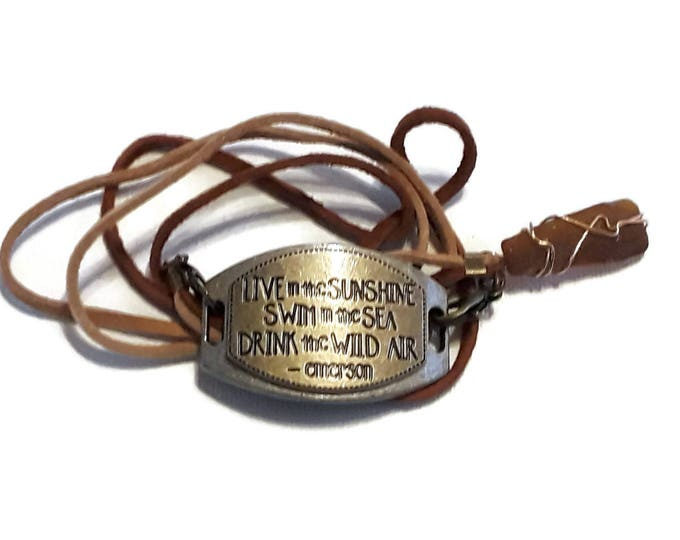 Strappy bracelet - Emerson quote Medallion - Brown beach glass charm with tan and brown leather laces and lobster claw closures