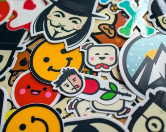Full Collection of STICKERS, Cool Decal, 30+ Stickers, Vinyl Laptop Decal, Skateboard sticker, custom stickers, buy stickers, round stickers