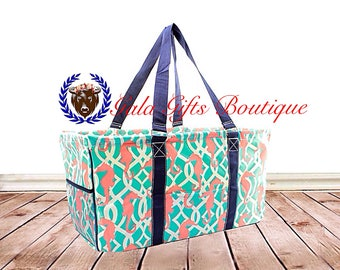 Monogrammed Seahorse Utility Tote - TEACHER Bag -Geometric Pattern, Carryall Tote, Car Organizer, Summer Tote- Teacher Tote / bag