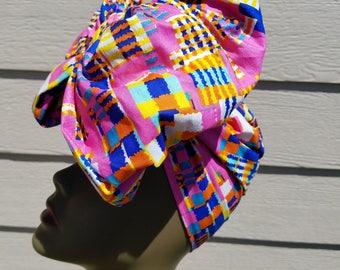 Pink, Blue & Yellow Headwrap;Pink African Headwrap; African Clothing; African Headwrap; African Scarf; Fabric Headwrap: Headwrap; Head tie