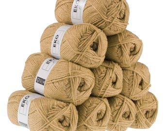 10 x 50g knitting Yarn eko fil, #110 Sand