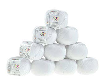 10 x 50g knitted yarn cotton marble, #02 White