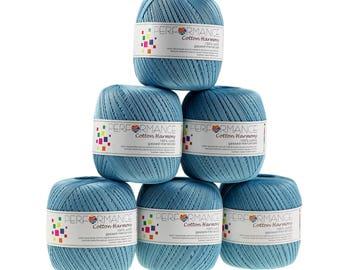 6 x 100g thread cotton Harmony #321 light blue