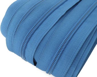 6m endless zipper 5mm with 15 zippers and tails 219 blue