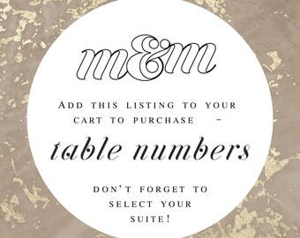 Table Numbers in Desired M&M Wedding Suite