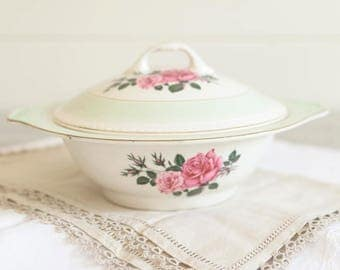 Floral Serving Dish with Lid, vintage serving dish, 1930s china, ironstone tureen, wedding china