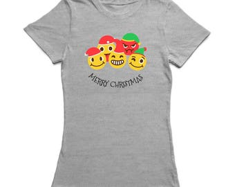 Merry Christmas Happy Friends  Women's Sports Grey T-shirt