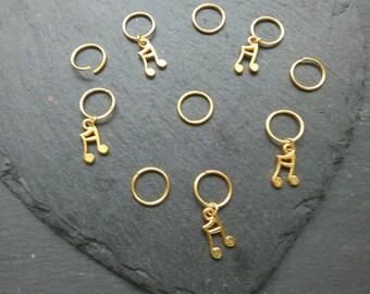 Musical notes hair rings in gold, hair rings, Concert Hair Accessory, Stage Hair Accessory, Hair jewellery,