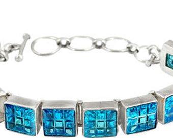 Blue topaz quartz square shape 925 sterling silver bracelet