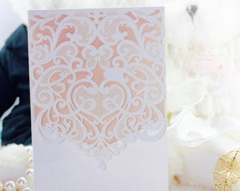 White Lace Wedding Invitation wallet with 2 unprinted inserts (Envelope not Included)