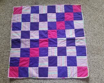 Infant Quilt // Baby Quilt //Small Quilt // 2ft x 2ft // pink and purple stripes