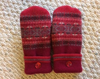 Red Upcycled Wool Mittens