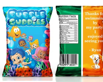 Bubble Guppies chip bag Bubble Guppies birthday party bubble guppies party favors 1st 2nd 3rd birthday party girl party--DIGITAL FILE ONLY!!