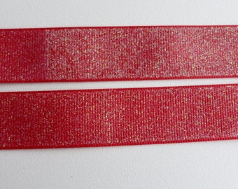 "Red Glitter Grosgrain Ribbon 7/8""/22mm wide x 1 meter    Base colour - 250"