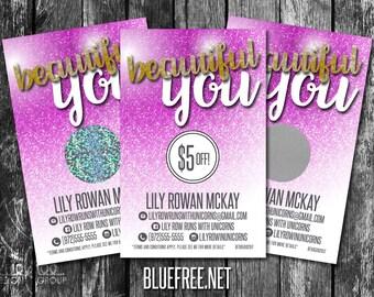 Beautiful You! Scratch to Win! Personalized Scratch Off Discount Cards! - SC61