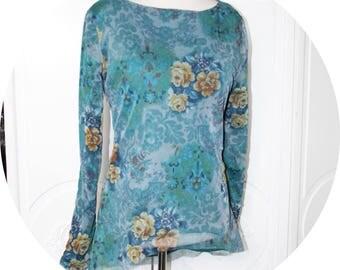 Tunique liquette bleu vert en molleton coton et tulle,tunique longue en maille souple,tunique maille sweatshirt et tulle imprime bleu vert
