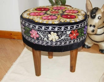 Embroidered vintage cotton pouf ,Floor   Round Pouf -  Ottoman wooden legs, Footstool,Boho Furniture