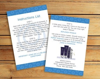 Monat Instructions Card  - Monat Tips and Tricks -  Monat Hair Care - Monat Global - Monat Business Card - Monat Flyer
