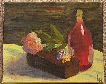 Unframed oil painting, depicting still life with wine bottle