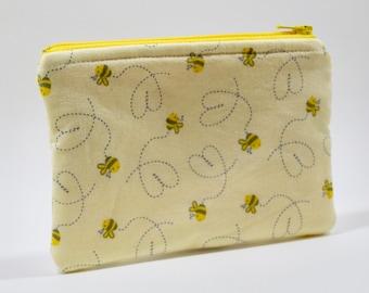 bee zipper pouch, coin purse, bumble bee, garden, yellow,