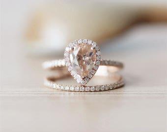 57mm pear cut morganite ring set14k rose gold ringfull eternity - Morganite Wedding Ring Set