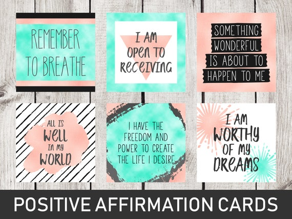 Vision Board Printables Positive Affirmations Dorm Room Decor Locker Decor Office Decor Printable Quote Cards Law Of Attraction