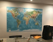 """SALE! World Map Mural Blue - Physical and Political, World Map Gift (Vinyl/XL) 72""""w x 48""""d"""