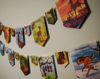Set of 2 Bambi Paper Buntings Kids Birthday Banner Walt Disney Decor Walt Disney Bunting Bambi Nursery Decor