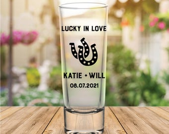 "Custom ""Lucky in Love"" Tall Wedding Favor Shot Glasses"
